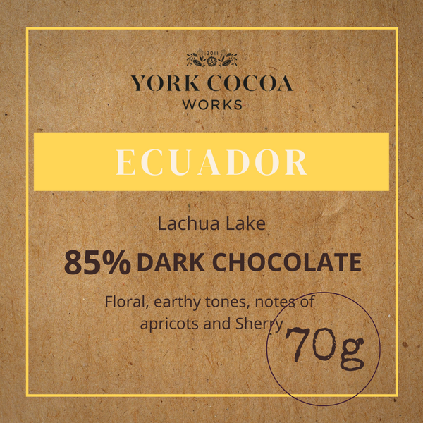 85% Ecuador Dark Chocolate - 70g Bar - Case of 10