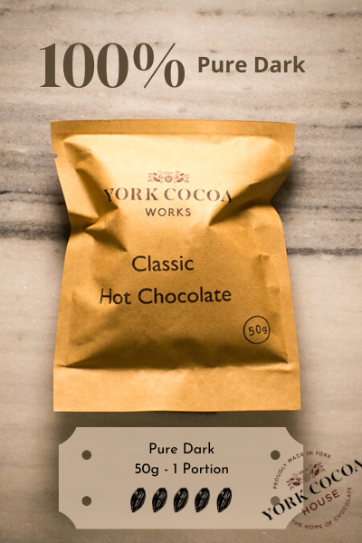100% Completely Dark Hot Chocolate - 50g Luxury Portion - Case of 20