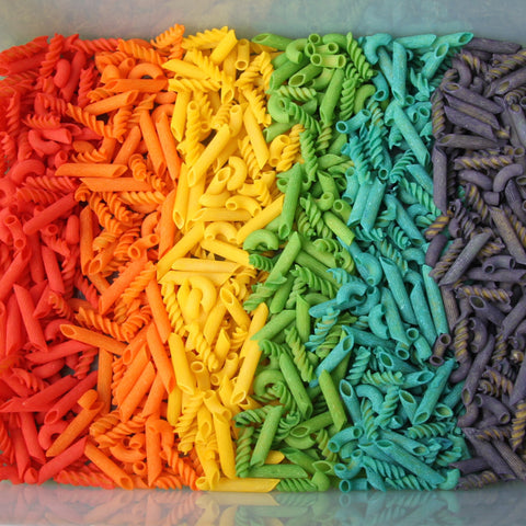 Homemade rainbow pasta
