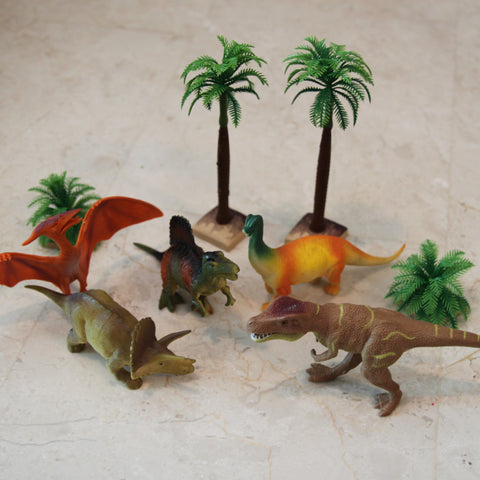 Dinosaur & plants 9 piece set