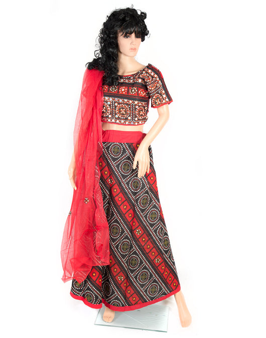 designer women red and black lehenga choli