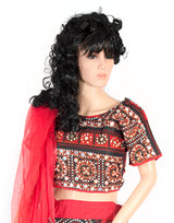 red and black choli