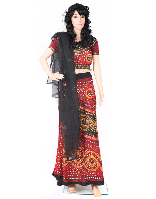 Red and Black Color Designer Lehenga Choli on Rent
