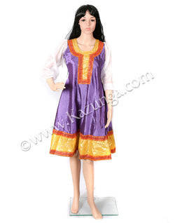 Purple and golden frock type dance dress on rent