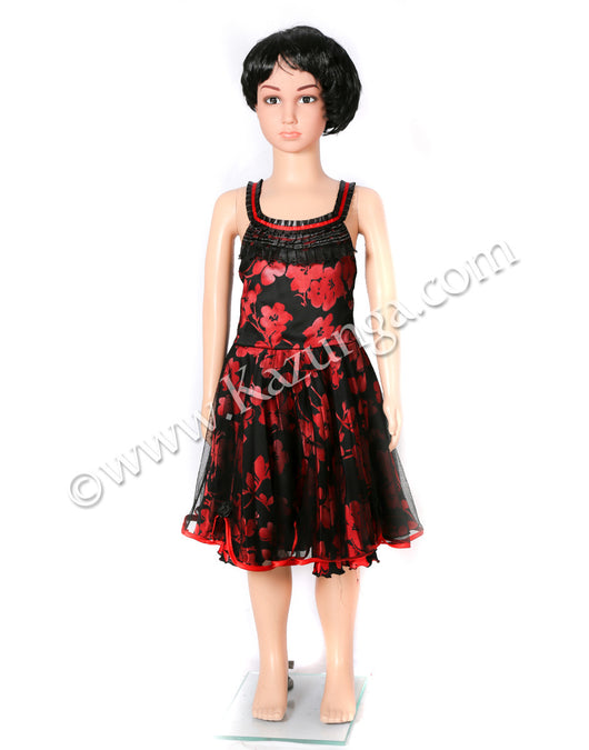 kids red and back frock party dress