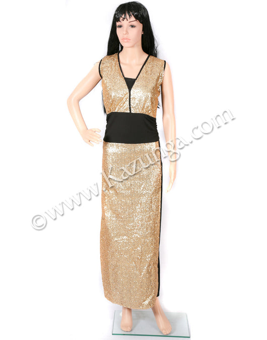 womens golden tikli gown on rent