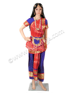 Blue and Red Bharatnatyam Dress on Rent
