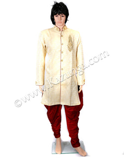 Cream Sherwani with Golden Embroidery on Rent