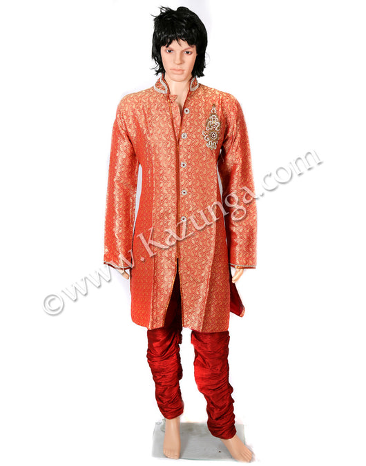 Red Sherwani With Red Churidar Pyjami Self Design