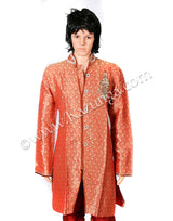 Red sherwani with self design on rent
