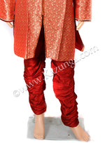 Red Sherwani With Red Churidar Pyjami Self Design on Rent