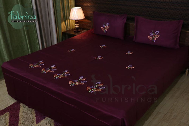 Decor Cotton Designer Embroidered Double Bed Queen Size Bed Sheets
