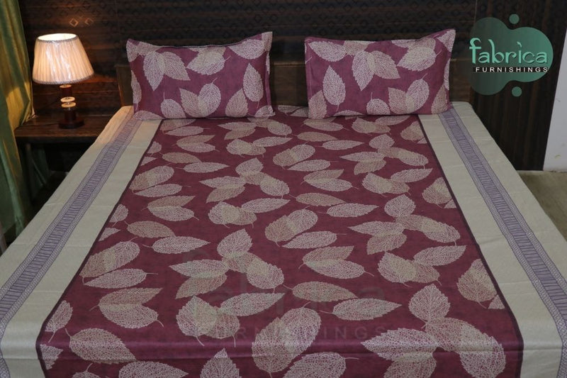FABBY DECOR CLASSIC PRINT COTTON DOUBLE BED QUEEN SIZE BED SHEETS