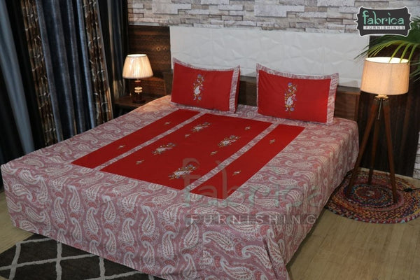 Decor Designer Mix & Match Embroider  King size Double  Bedsheet