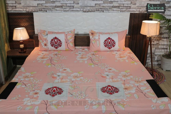 Fabby Decor classic Embroider Cotton Designer Double Bed King Bedsheet