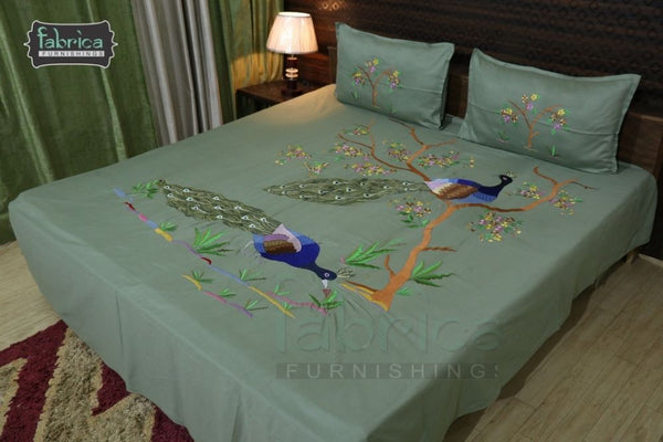 Peacock Cotton Designer Embroider King Size Bed Sheets