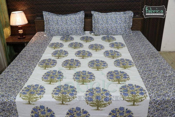 Decor Designer Print Cotton Double Bed Queen Size Bed Sheets (90*108 Inch)