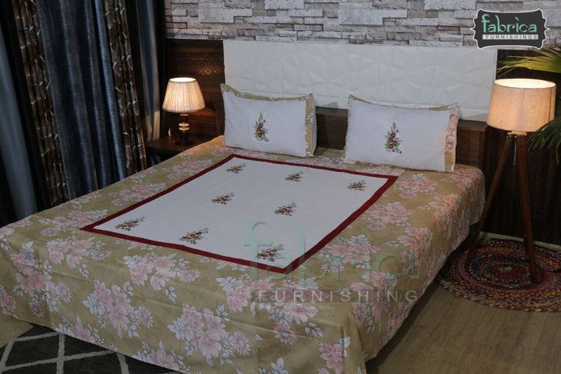 Fabby Decor Designer Embroidered king Size Bed Sheets