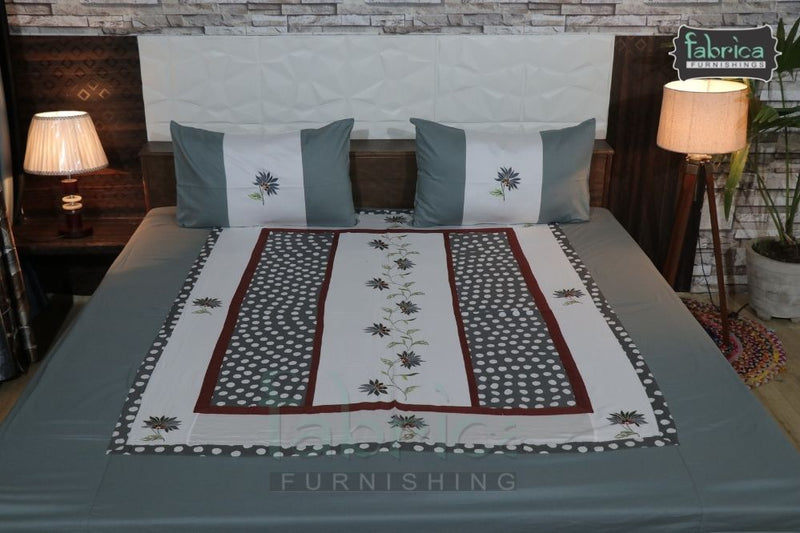 Fabby Decor Designer Mix & Match Embroider  King size Double  Bedsheet