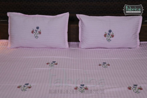 Fabby Home Designer Cotton Embroider Double Bed Queen Size Bed Sheets