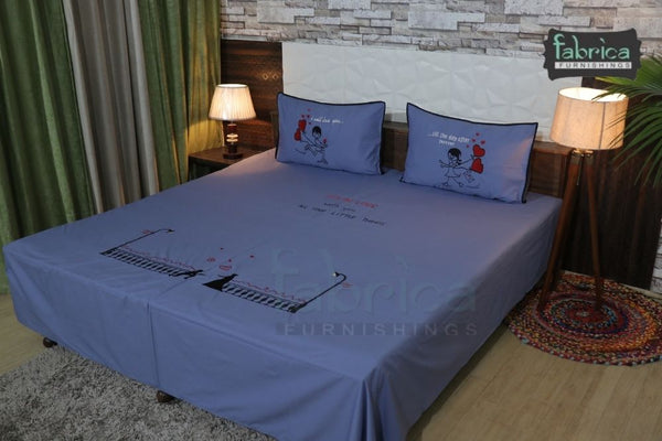 King Size Fall in Love Couple Double Bedsheet