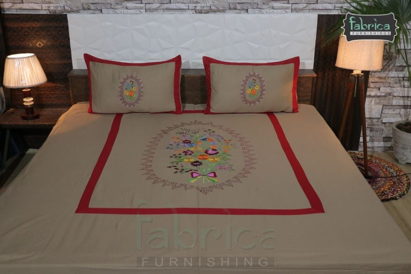 Fabby Home Designer Embroider king Size Bed Sheets