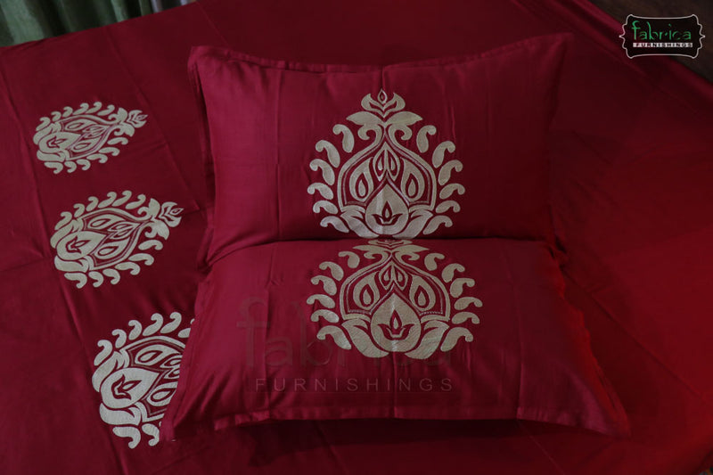Fabby Decor Classic Embroider Cotton Designer Queen Size Bed Sheets