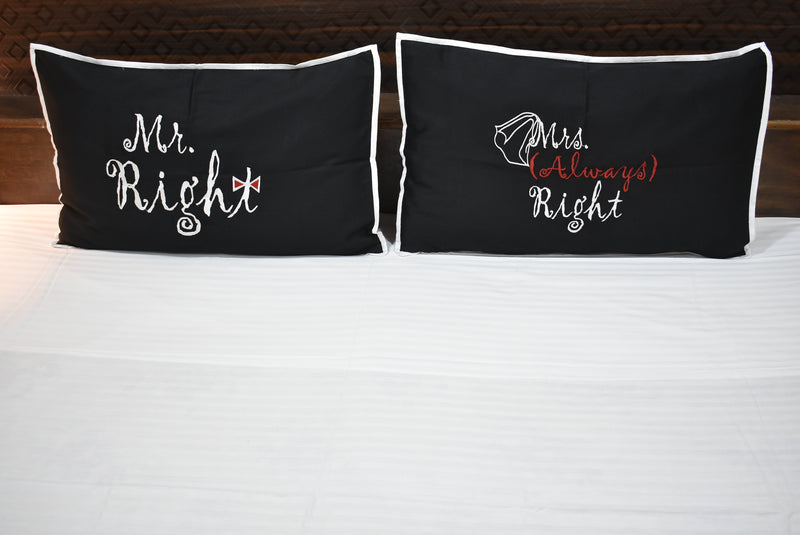 King Size Mr and Mrs Love Couple Double Bedsheet Embroidered