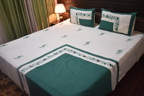 Fabby Designer Superfine Embroider King Size (Cream and Green) Double Bedsheet