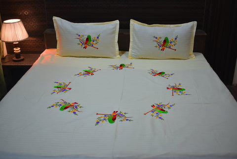 Fabby Cream Parrot Embroider Kingsize Bedsheet