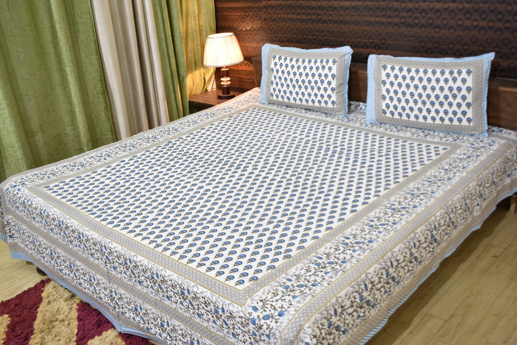 Fabby Decor Designer Print Cotton Double Bedsheet (90*100 Inch)