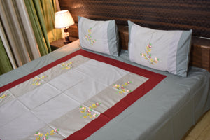 Decor Designer Mix & Match King Size Embroider Glace Cotton Bedsheet