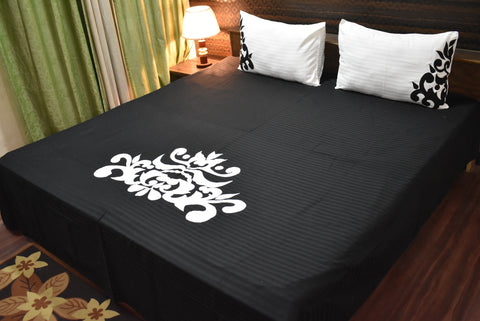 Fabby Royal Black Designer Embroider Kingsize Bedspread