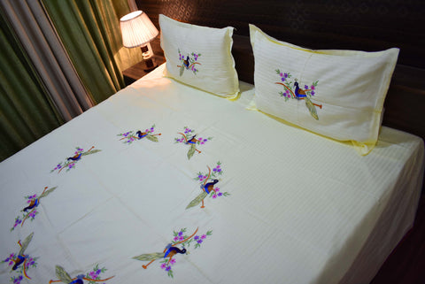 Fabby  Creame Peacock Embroider Kingsize Double Bedsheet