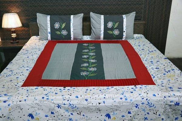 Fabby Decor Designer Mix & Match King Size Embroider Bedsheet