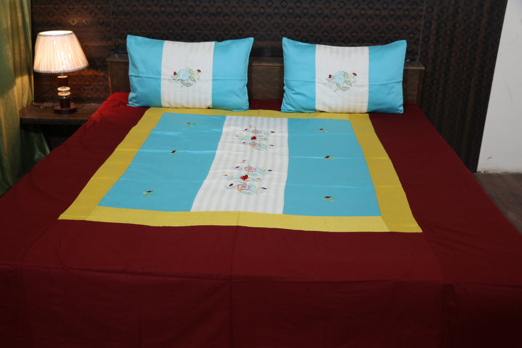 Fabby Decor Designer Mix & Match King Size Embroider Glace Cotton Bedsheet