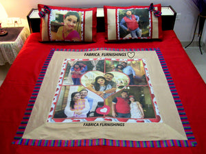 Personalized Photo Collage Printed Bed Cover Set