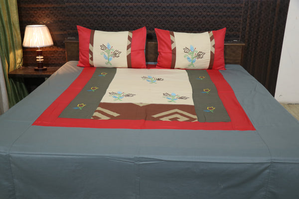 Fabby Decor Designer Mix & Match Embroider Glace cotton King Size Bedsheet