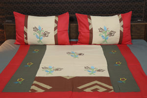 Decor Designer Mix & Match Embroider Glace cotton King Size Bedsheet