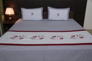 Fabby Decor Cotton Designer kingsize Embroidered Double Bedsheet