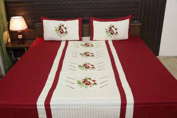 Fabby Decor classic Embroider Cotton King Size Designer Bedsheet