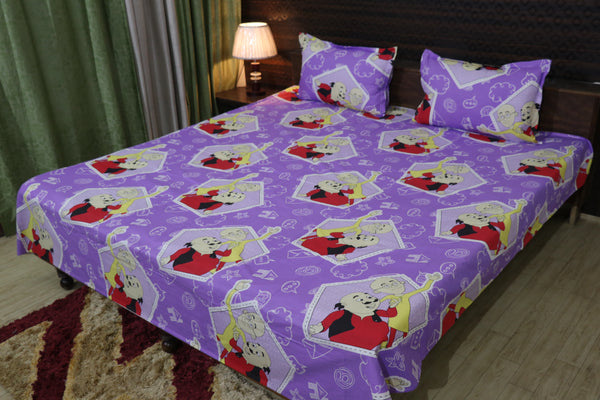 Fabby Home cartoon Print Cotton Double Bedsheet
