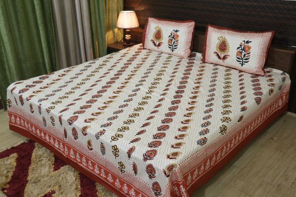 Fabby Decor Designer Print Cotton King Size Bedsheet