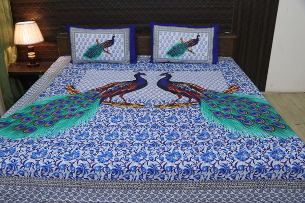 Fabby Decor Designer Print Cotton  Double Bedsheet (100*100 Inch)