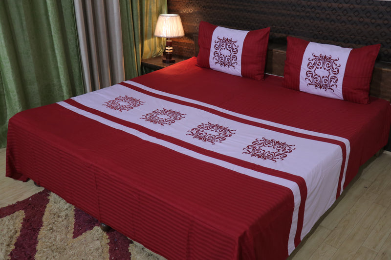 Fabby Royal Designer Embroider Double Bed King Size Bed Sheets