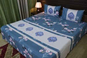 Fabby Decor classic Embroider Cotton King Designer Double Bedsheet