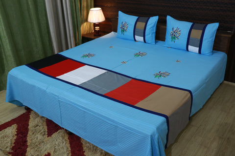 Fabby Decor Designer kingsize Embroidered Bedsheet