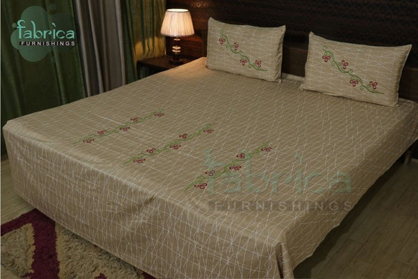 Fabby Royal Designer Embroider Cotton Designer Queen Size Bed Sheets