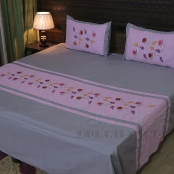 FABBY DECOR CLASSIC EMBROIDER DESIGNER COTTON KING SIZE BED SHEETS