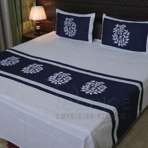 Fabby Designer Embroider Cotton Double Bed King Size Bed Sheets